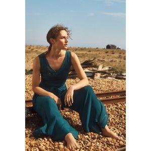 Anthropologie Elevenses Blue Green Sabine Jumpsuit